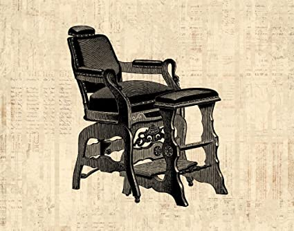 Attractive Vintage Barbershop Chair Antique Barbers Chair Salon Art Old Fashioned  Illustration Print Or Poster In A