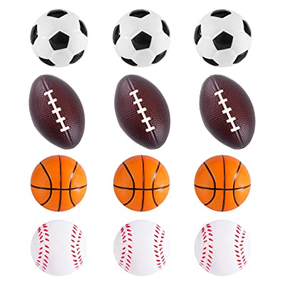 Mini Foam Sports Balls 12 Pack Balls for Kids Adults Mini Baseball Football Basketball Soccer Stress Ball Bulk Toy Little Big Game Party Decoration Balls Small Foam Relaxable Balls (Assorted): Toys & Games