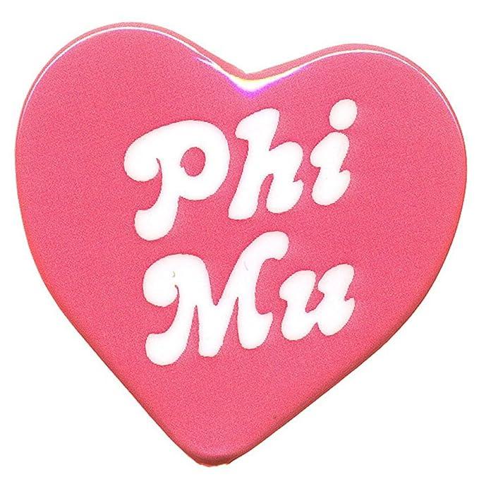 Phi Mu Heart Shaped Button