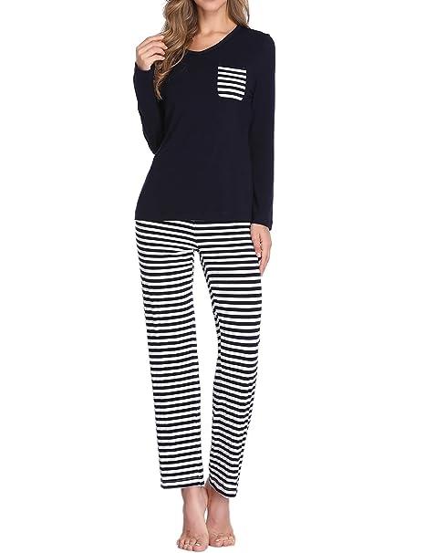 Lusofie Pijamas para Mujeres Contraste de Rayas Conjunto de Pijama de Punto Pijamas de Dormir(