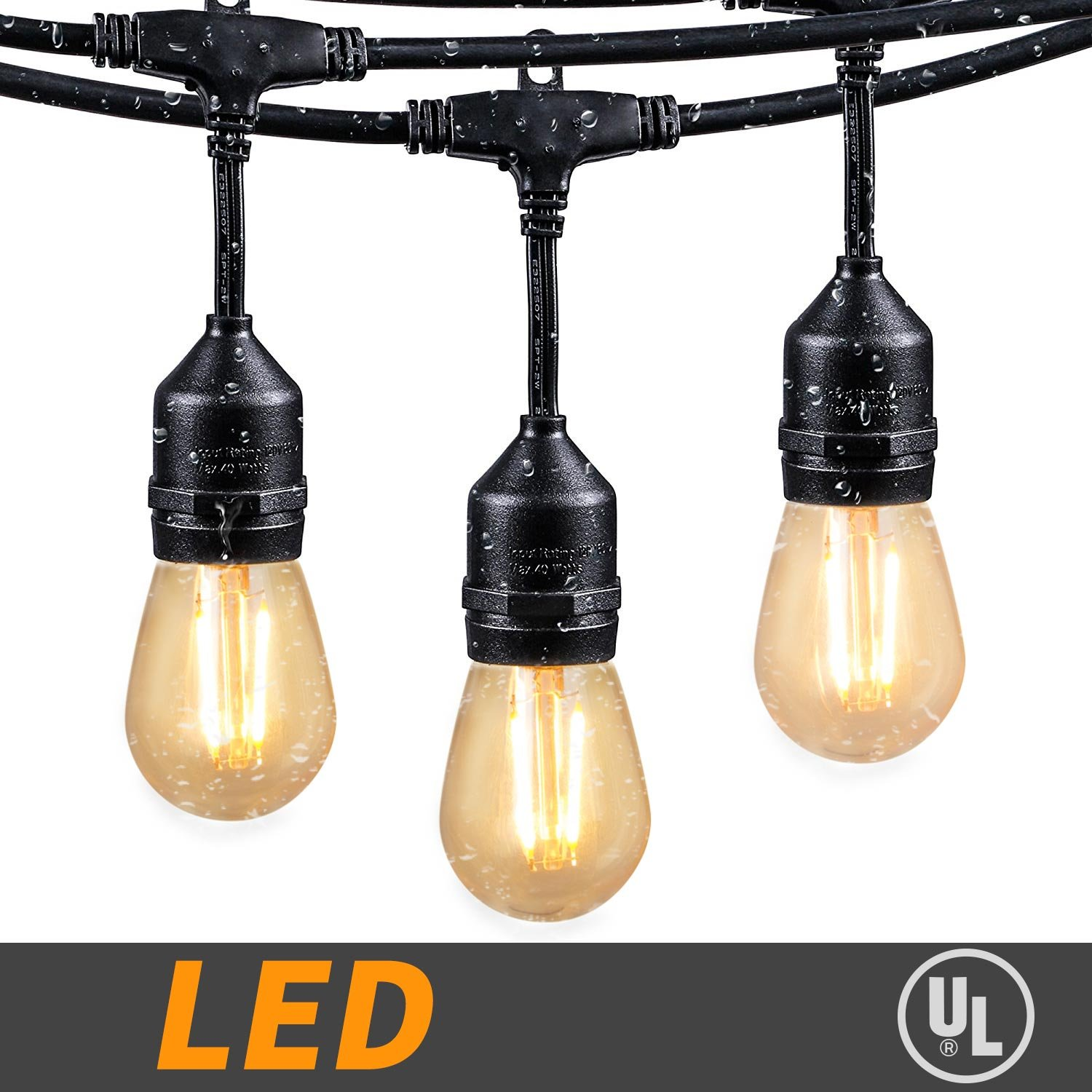 48Ft LED Outdoor String Lights with 15 Dimmable S14 Edison bulbs, Weatherproof Commercial Grade Hanging Patio lights for Deck Backyard Bistro Cafe Pergola Gazebo Wedding Garden Vintage Light Decor