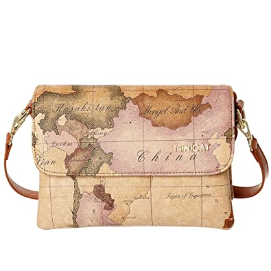 Minicat World Map Series Synthetic Leather Small Crossbody Cell