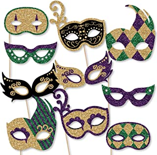 product image for Big Dot of Happiness Mardi Gras Masks & Glasses - Paper Card Stock Masquerade Party Photo Booth Props Kit - 10 Count