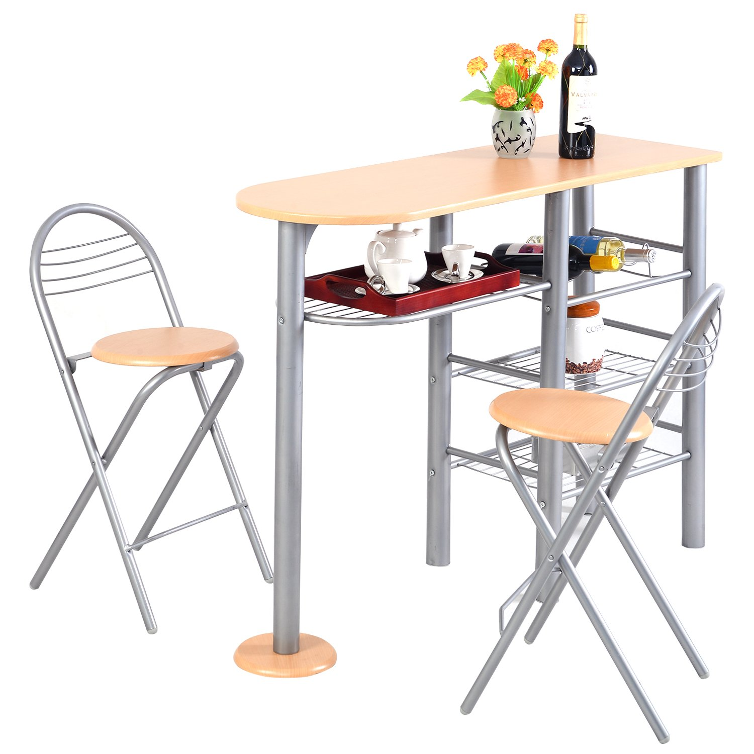 PROSPERLY U.S.Product Pub Dining Set Counter Height 3 Piece Table and Chairs Set Breakfast Kitchen