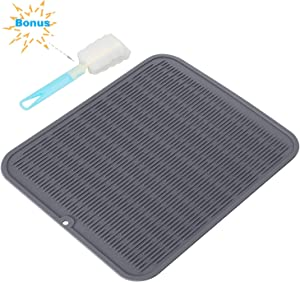 Silicon Dish Drying Mats with Grips Botter Brush, 18'' X 16'' Non Slip Dish Mats, Heat Resistant Countertop Protection Trivet, Dishwasher Safe - BPA Free