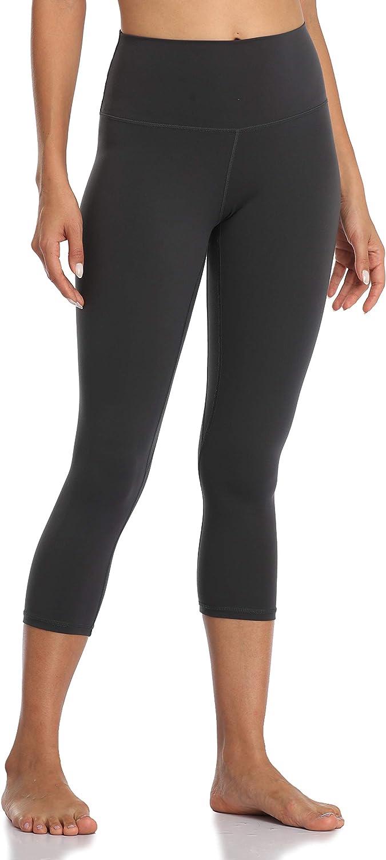 YUNOGA Womens Ultra Soft High Waist Seamless Tummy Control Yoga Capris 21 Inseam Leggings