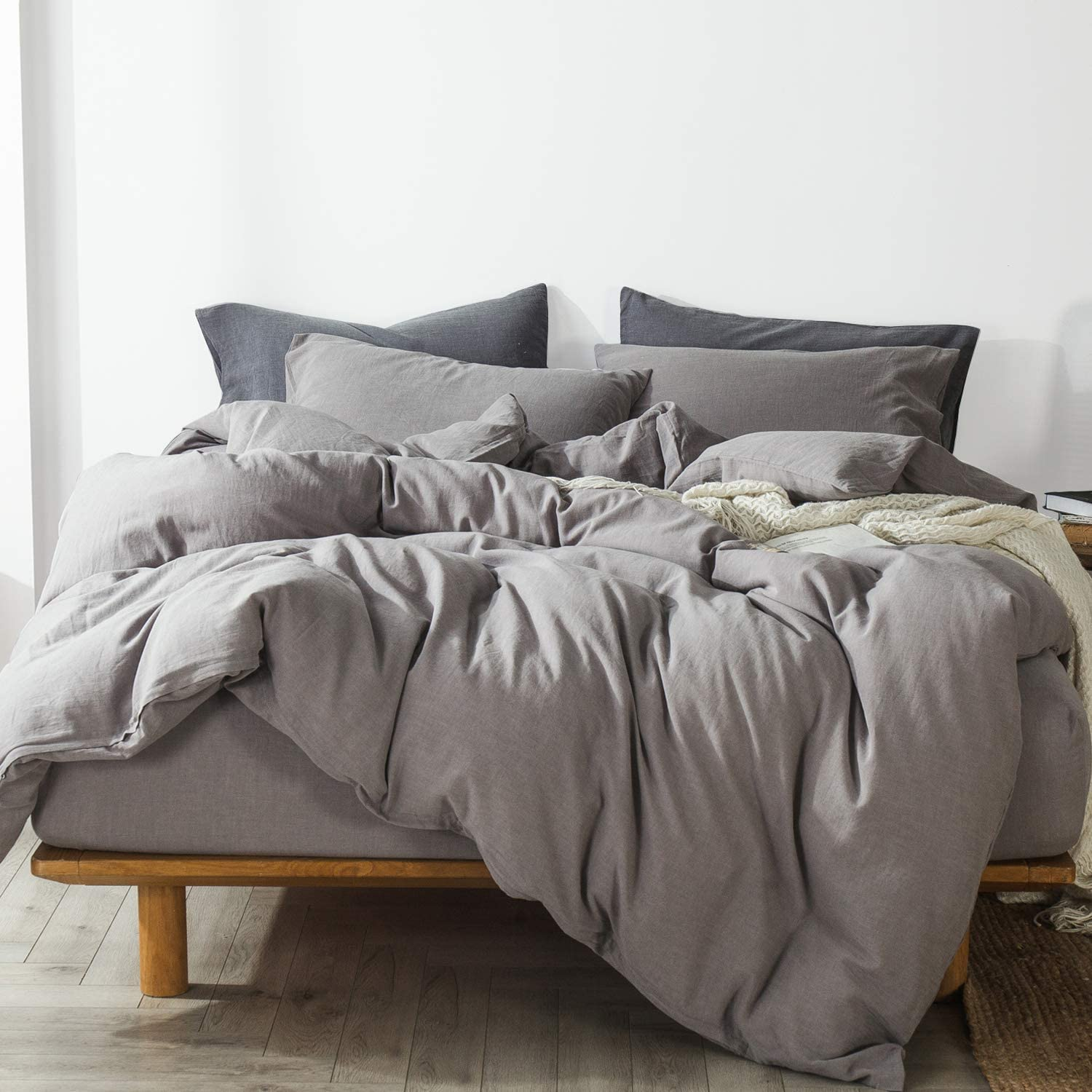 100/% Washed Cotton Linen Like Textured Breathable Durable Soft Comfy Linen Grey,Twin 1 Comforter Cover + 1 Pillow Sham MooMee Bedding Duvet Cover Set