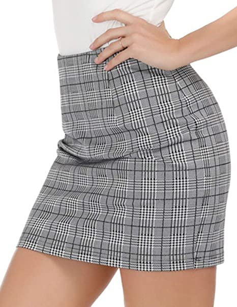 35dded7475fe Kate Kasin Womens Stretchy Office Pencil Skirt Wear to Work,Grey Size S