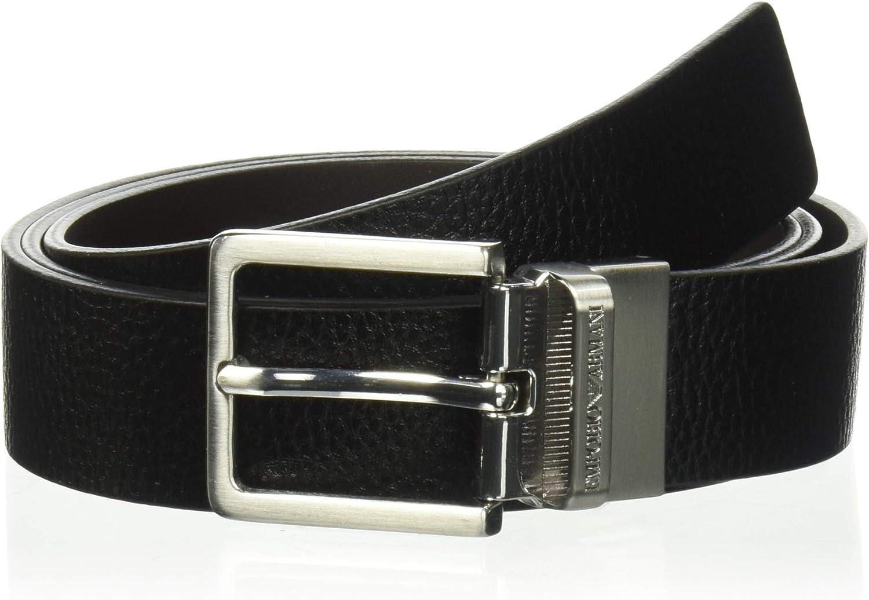 Emporio Armani cinturón en piel de hombre ajustable reversible nuevo negro