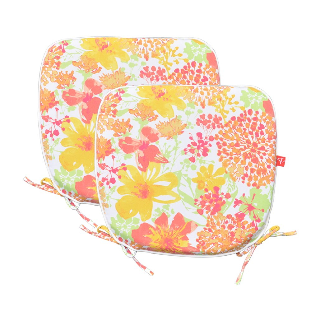 PacifiCasual Indoor/Outdoor Chair Pads Seat Garden Home Patio Chair Cushions (Floral)