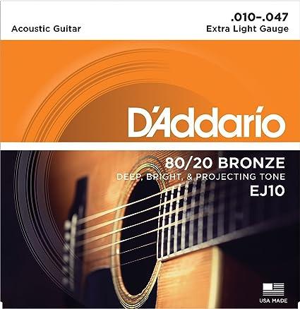 CUERDAS GUITARRA ACUSTICA - D´Addario (EJ/10) Extra Lite Bronce 80