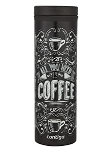 Contigo TWISTSEAL Eclipse Vacuum-Insulated Stainless Steel Travel Mug, 20 oz., All You Need Is Coffee