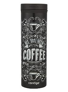 Contigo TWISTSEAL Eclipse Vacuum-Insulated Stainless Steel Travel Mug, 20 oz., All You Need Is Coffee