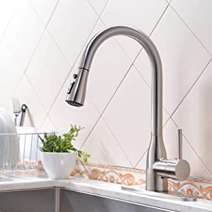 VESLA HOME Single Handle High Arc Pull Out Brushed Nickel Kitchen Faucet,Stainless Steel Kitchen Sink Faucet with Pull Down Sprayer and Deck Plate,Modern Commercial Rv Bar Kitchen Faucets