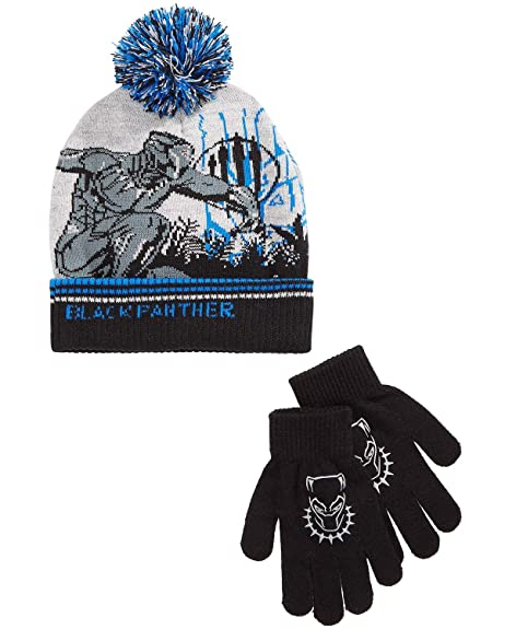 89d698b5f Black Panther Avengers Boys Winter Beanie Hat Gloves Set Kids Black