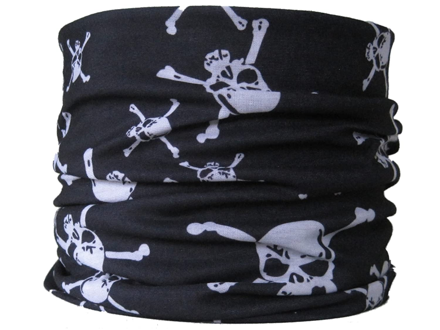 Multifunctional Tube Neck Scarf with Skull and Crossbones Pirate Design, Black & White Multifunctional Headwear