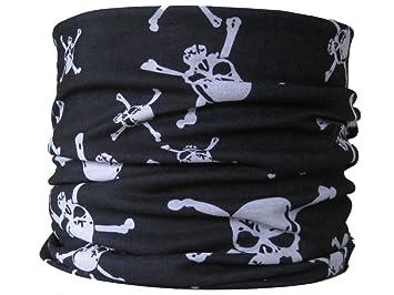 Multifonction Foulard Écharpe tube de cou tête de mort pirate noir   blanc 4ca61dc0aec