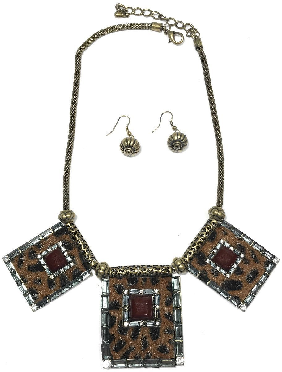 Dave's Collections Chunky Bib Collar Tribal Cheetah Bronze Statement Necklace Bracelet Earring Set