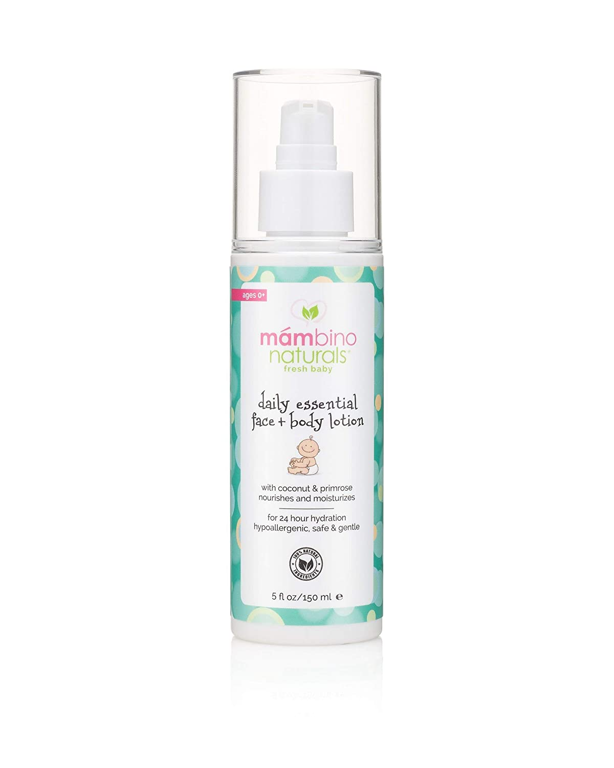 Mambino Organics Daily Essential Face And Body Lotion, Coconut + Primrose, 5 Fluid Ounces