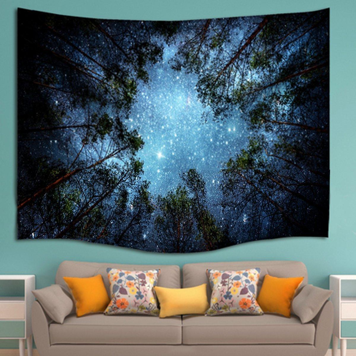 Amazoncom KCASA Forest Starry Sky Mandala Tapestry