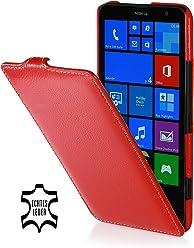 StilGut UltraSlim Case, custodia in vera pelle per Nokia Lumia 1320, rosso
