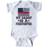 inktastic Fireman Daddy is a Firefighter Infant Creeper Newborn White
