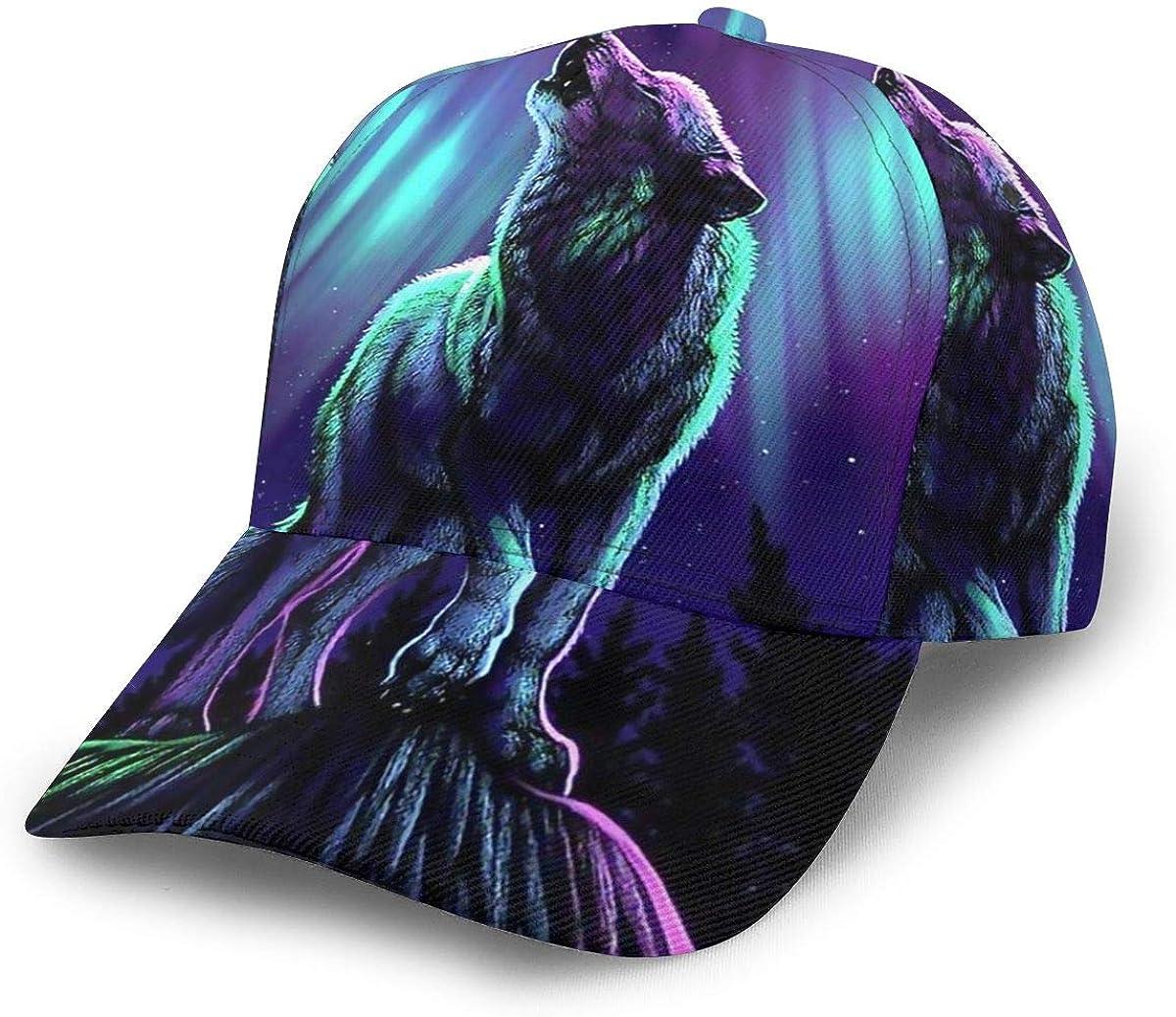 Wolf with Northern Lights Womens Vintage Baseball Cap Unisex Adjustable Baseball Hats Dad Hat Black