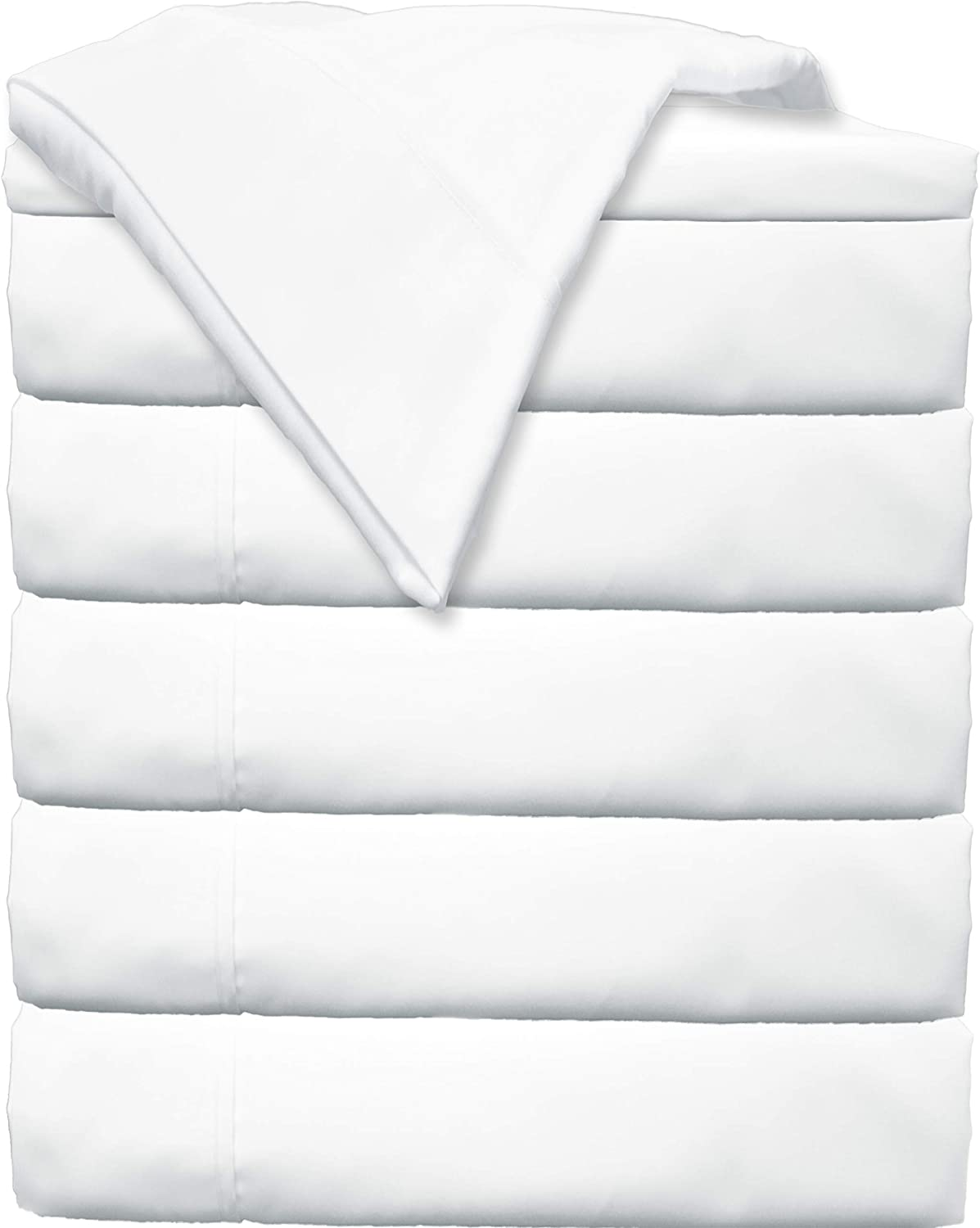 Glarea Bed Flat Sheets 6 Pack (Twin, White) - Soft Brushed Microfiber Bedding for Blissful Sleep