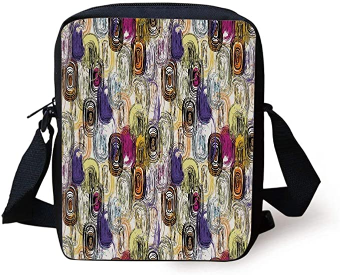 Purple Memphis Pattern Messenger Bag Cross Body Laptop School Work Bag
