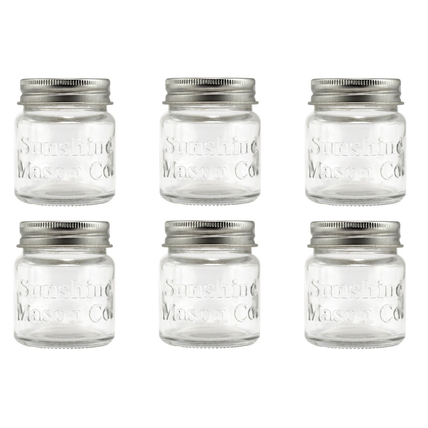 Sunshine Mason Co. Mini Mason Jar Shot Glasses with Metal Lid 2 Ounces, 6 Pieces