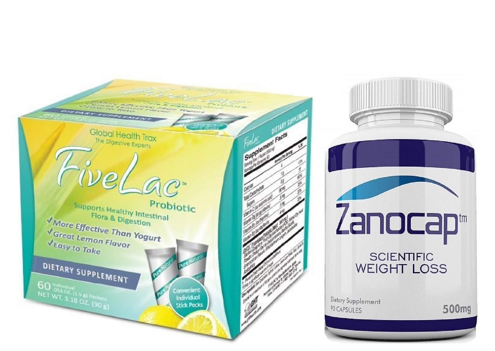 Fivelac Natural Probiotics Candida Solution 1 Pack of 60 Servings with Zanocap Scientific Weight Loss 1 Bottle by M3Dl Kits
