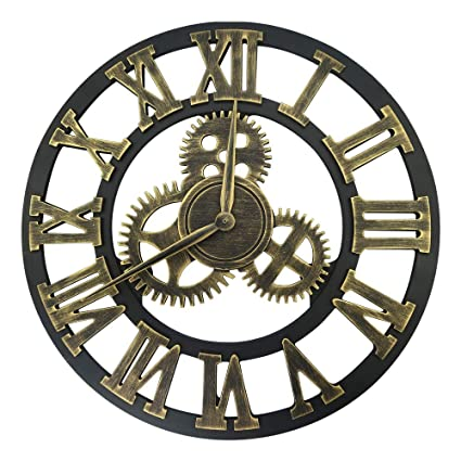 Lucky Monet Large 3D Gear Roman Numeral Wall Clock Antique Wall Clock Retro Round Clock Art
