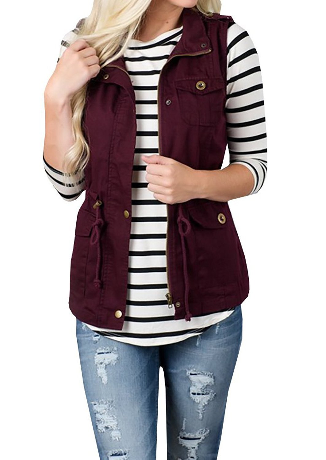 Annystore Women's Casual Lightweight Drawstring Zipper Botton Sleeveless Jacket Vest Coat with Pockets Wine Red M by Annystore