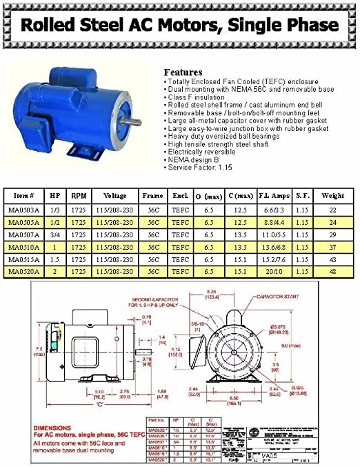 3//4HP 208-230V//460V 3450 RPM AC MOTOR 56C//TEFC WITH BASE 3PH