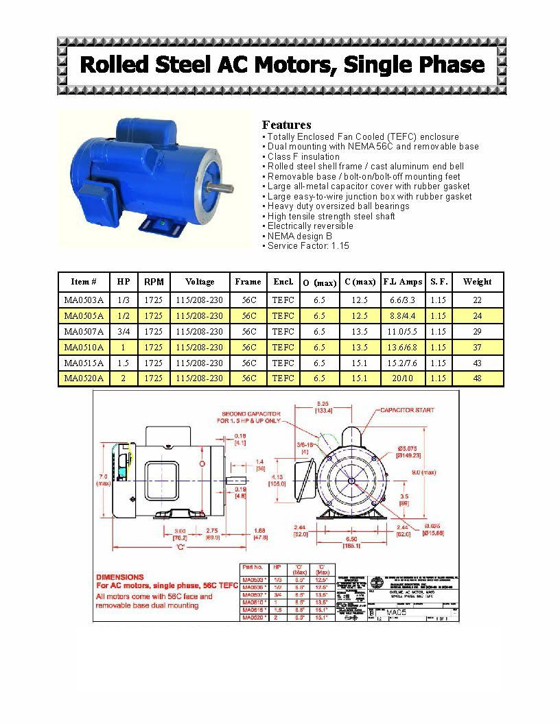 Hallmark Industries Ma0505a Ac Motor 1 2 Hp 1725 Rpm 1ph 60 Hz Marathon Electric Pump Wiring Diagram 115 208 230v 56c Tefc Cap Start With Foot Sf Steel Pack Of