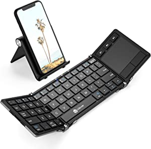 Bluetooth Keyboard, iClever BK08 Folding Keyboard with Sensitive Touchpad (Sync Up to 3 Devices), Pocket-Sized Tri-Folded Fodable Keyboard for Windows Mac Android iOS