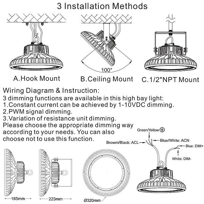 dephen led high bay light 150w 20250lm ufo high bay light fixtures rh amazon com Industrial High Bay Lighting Industrial High Bay LED Lighting