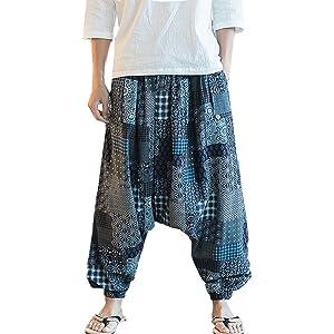 a447e46835de6 Hzcx Fashion Men s Vintage Cotton Blends Linen Drop Crotch Jogging Harem  Pants