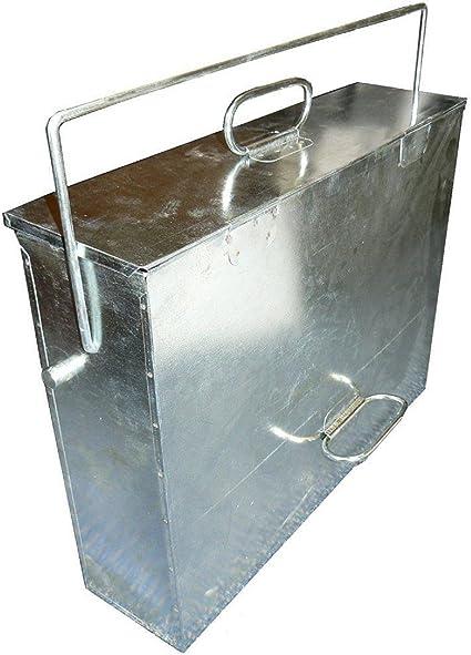 Madera de fresno con bolsas de plástico caja organizador Tippy Good Size Metal para hornillo para carbón Fire multiusos con asas de madera