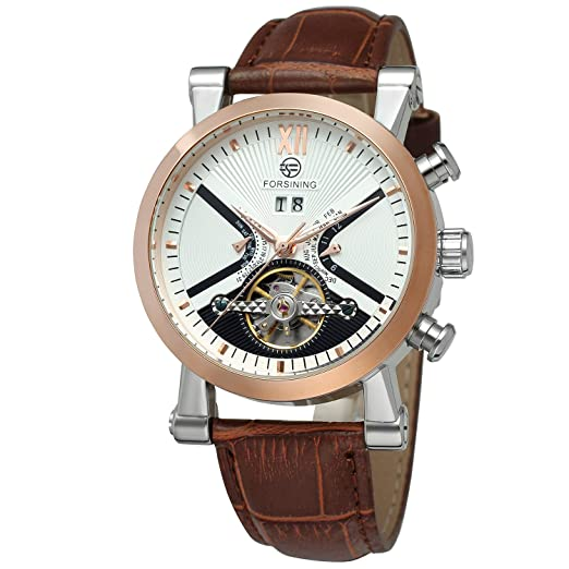 Amazon.com: Forsining Mens Steampunk Automatic Tourbillon Calendar Brown Genuine Leather Wrist Watch FSG2371M3T2: Watches