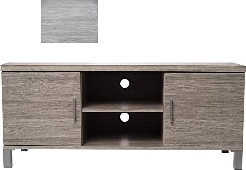 OMISHOME Stylish Grey TV Stand, Premium Quality Gray TV Stand Entertainment Center with 4 Spacious Compartments for Handy Storage – Mid Century TV Stand – Retro TV Stand – Stain and Warp Resistant