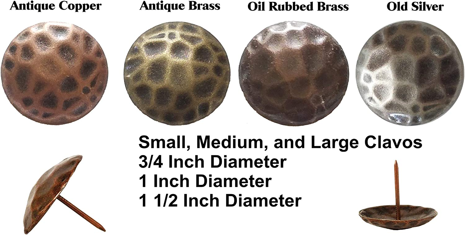 25 Large Clavos Rustic hamered Nailheads in Oil Rubbed Brass 1 1//2 inches
