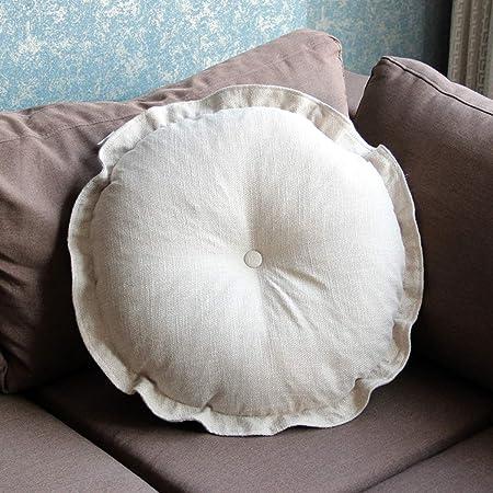 Q&F Cojines Redondo para sillas Espesar Cómodos Cojines para Silla Tatami Lino Cocina Oficina Inicio Almohadilla gardenass-J 43x43x12cm(17x17x5): Amazon.es: Hogar