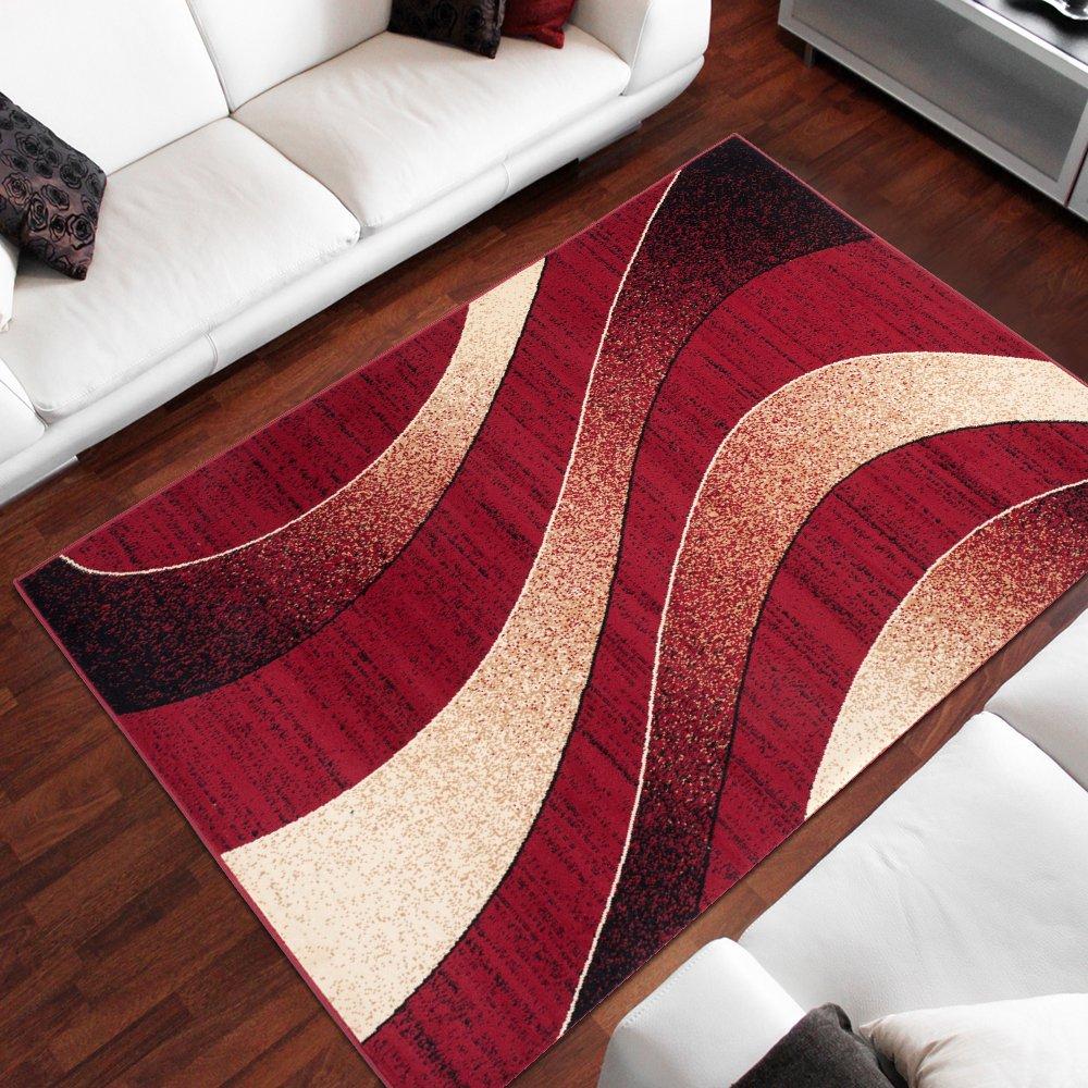 Tapiso Dream Teppich Wohnzimmer Modern Wellen Streifen Rot Creme Leicht Meliert Schlafzimmer Esszimmer Gästezimmer ÖKOTEX 220 x 300 cm B07HL2JZ7V Teppiche