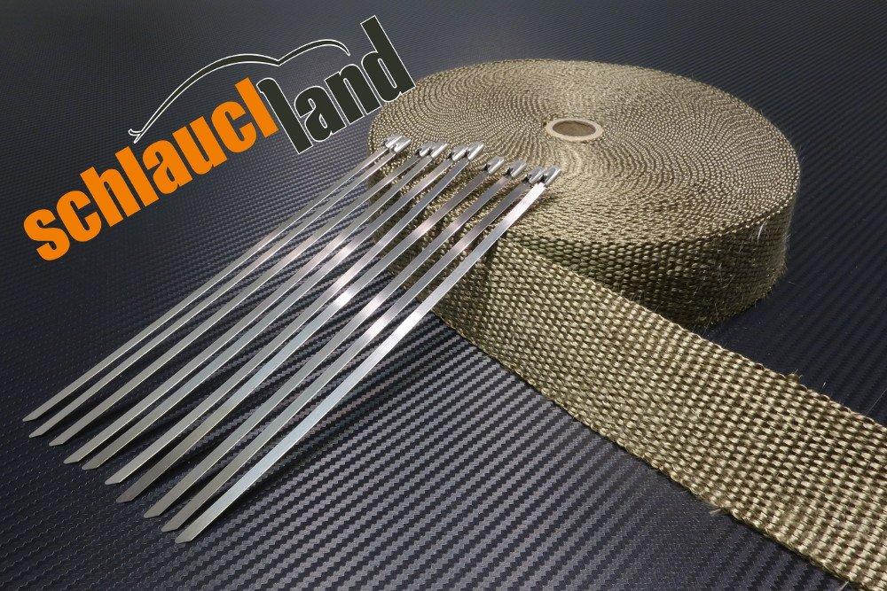 15m Titan Hitzeschutzband 50mm 1400° C + 10 Kabelbinder SCHLAUCHLAND*** Auspuffband Thermoband Krü mmerband Heat Wrap Basaltfaser Isolierband Hitzeschutz