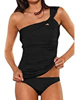 Dellytop Women's One Shoulder Swimsuit Two Piece Ruched Tankini Tummy Control Bikini Set
