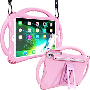Adocham Kids Case for New iPad 9.7 Inch 5th/6th Gen 2018/2017, iPad Air/ Air 2 and iPad 10.5, Premium Food-Grade Silicone Lightweight Shockproof Handle Stand Kids Friendly Cover (Pink)