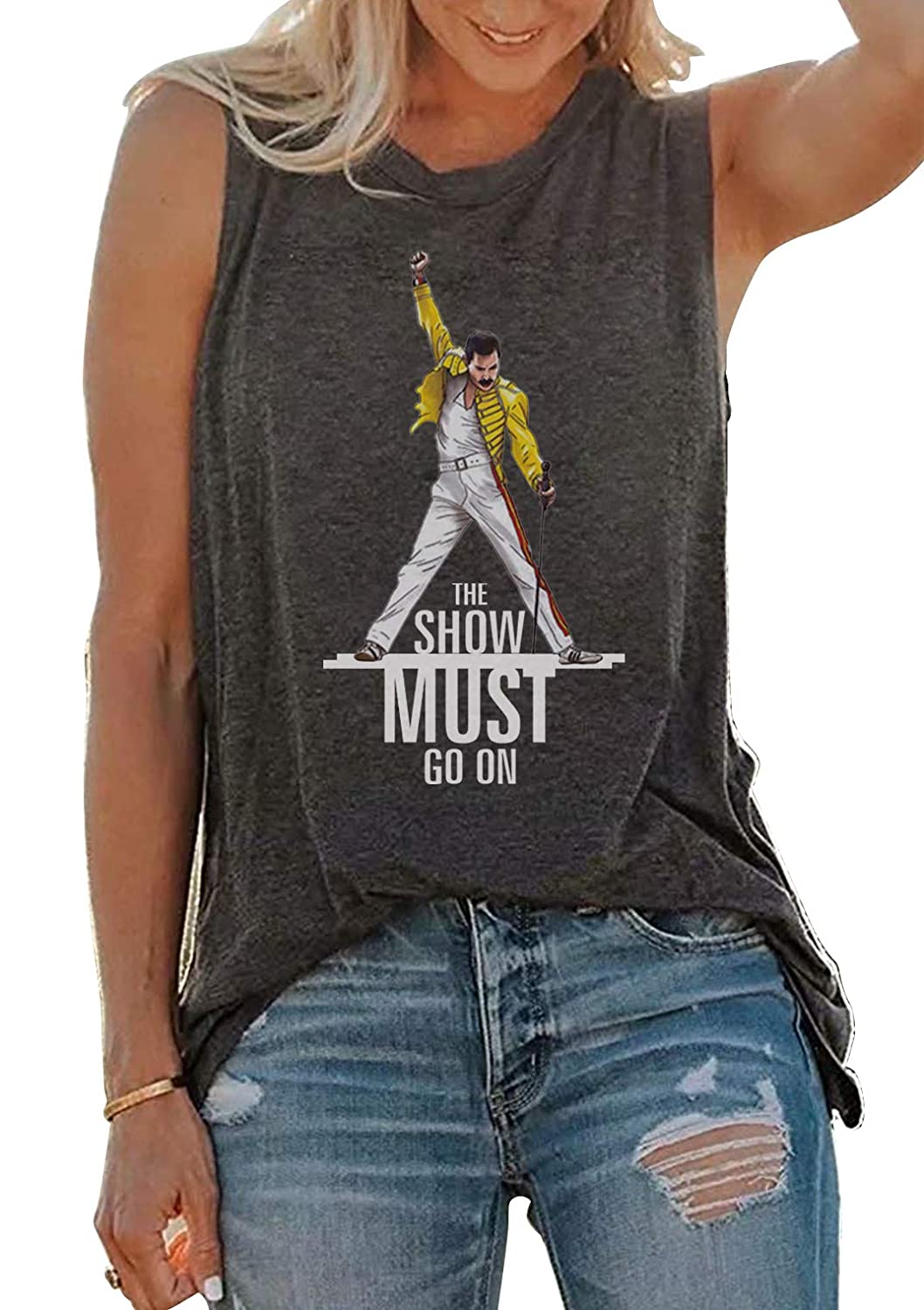 Vintage Queen Shirt The Show Must Go On Summer Cute Freddie Mercury Graphic  Tank Top for Music Lovers