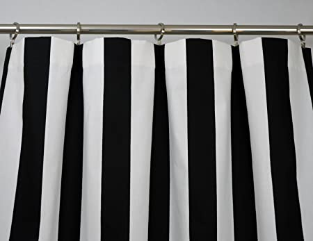 Amazon Black And White Vertical Stripe Drape One Rod Pocket Curtain Panel 120 Inches Long X 50 Wide Home Kitchen
