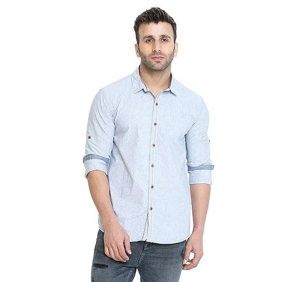 d6cc9263486 CHKOKKO Men s Cotton Slim Fit Casual Full Sleeve Plain or Check Shirts M  Size Light Grey